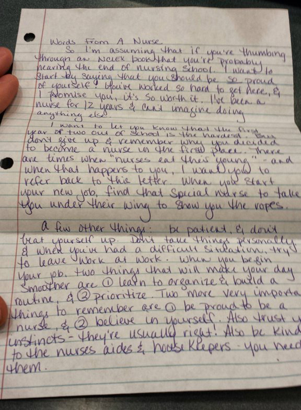 Inspiring Note From A Nurse To A Nursing Student Nursing Students